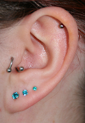 My ears look terrifying up close! My left ear has five piercings in itthe .