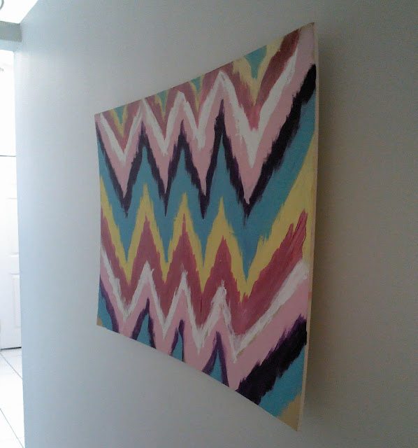 Diy decor chevron ikat wall art undeniably me diy for Diy chevron wall art