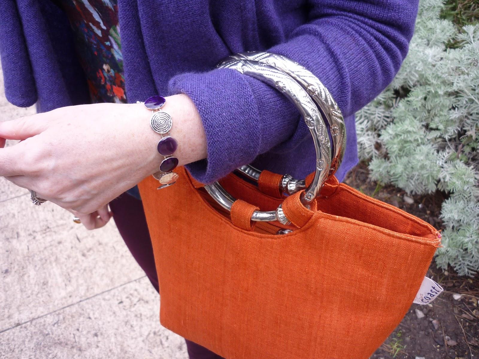 Purple & Silver Bracelet, Coast Orange Bag | Petite Silver Vixen
