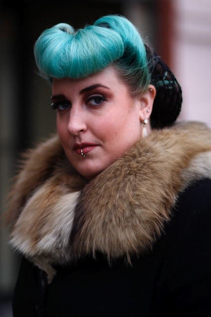 Courtney Nelson victory roll faux bangs fur collar lucky vintage university district seattle street style fashion it's my darlin'