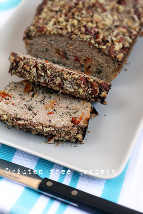 Tasty Gluten-Free Turkey Meatloaf with Sundried Tomatoes and Pecan Crust