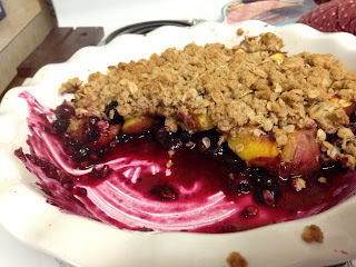 peach and blueberry crumble on katy's kitchen
