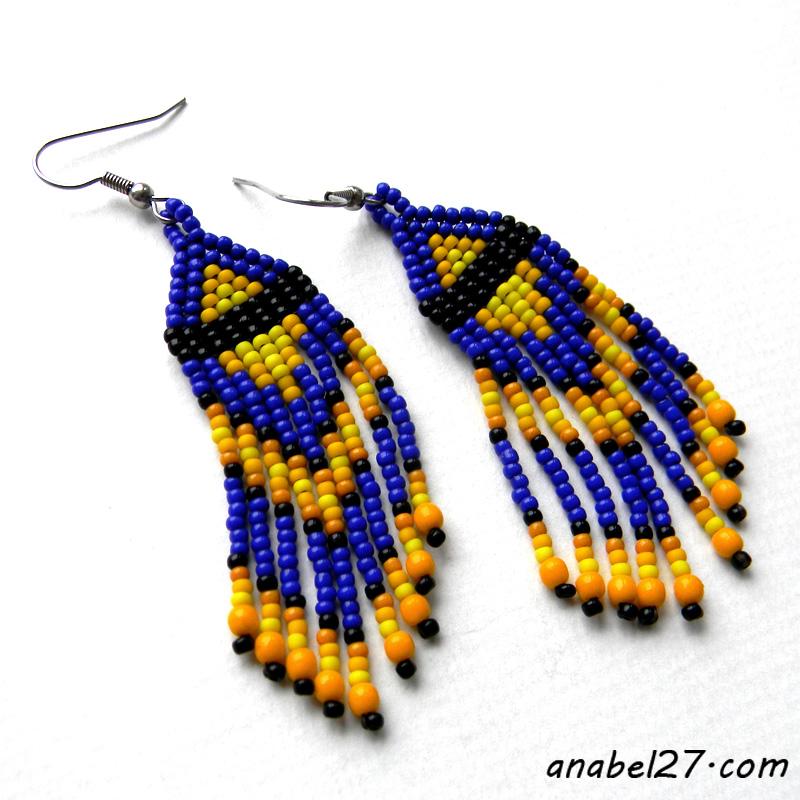 подарок девушке оригинальный сережки бисерные синие