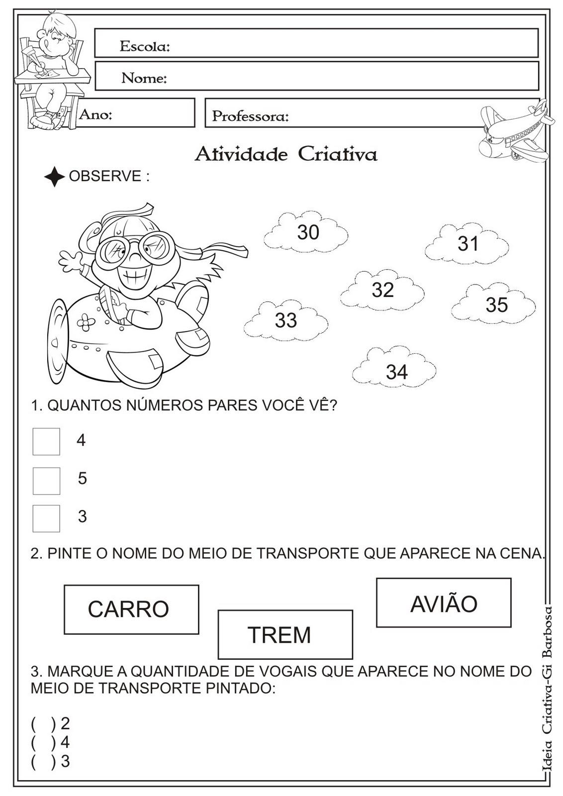 Atividade Interdisciplinar Simuladinho Números Pares Vogais e Meios de Tranporte