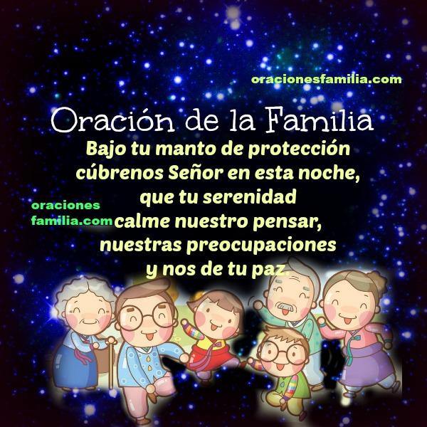 Corta oración de buenas noches para la familia, frases de buenas noches en oracion para Dios.