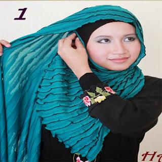 Cara Memakai Jilbab Kreasi Jilbab Shwal Hijau Tosca