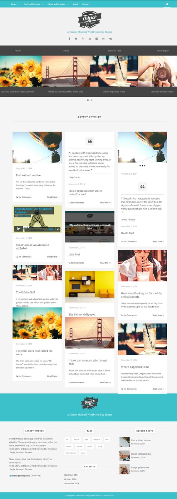 Ostrich A Classic Minimal WordPress Blog Theme