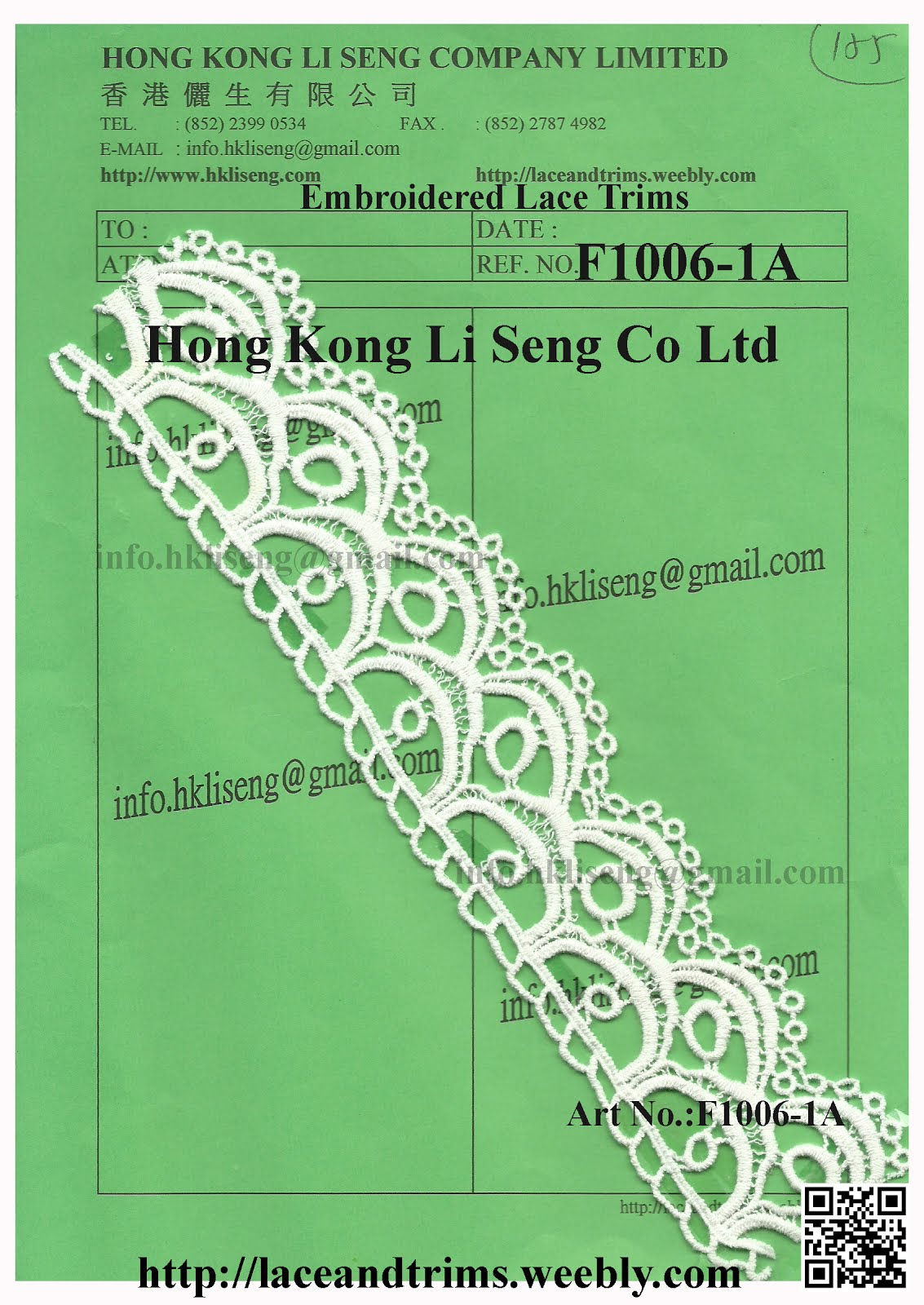 New Pattern Embroidered Lace Trims ( Water Soluble ) Manufacturer - Hong Kong Li Seng Co Ltd
