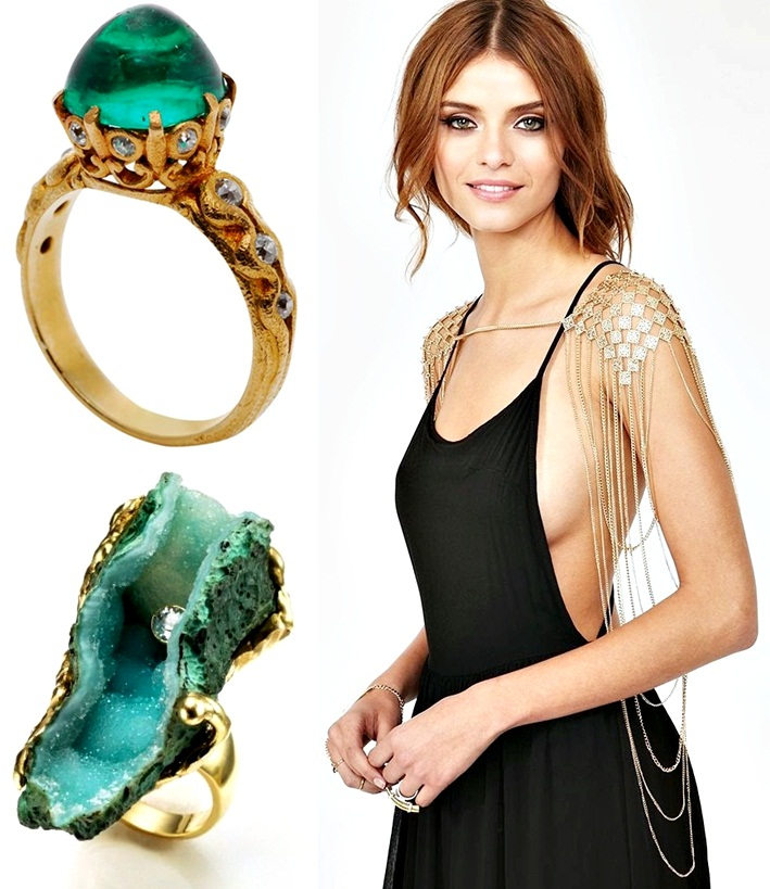 Guide To Stacking Jewelry, how to wear rings, green stone rings