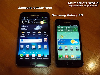 Samsung Galaxy Note GT-N7000 size comparison with Samsung Galaxy S2