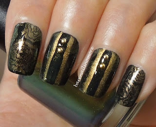 OPI Live and Let Die stamped with Jessica Iridescent Eye BM323 & with studs