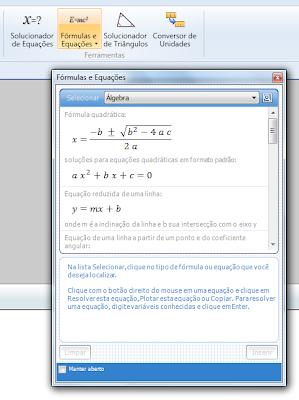 Fórmulas e equações