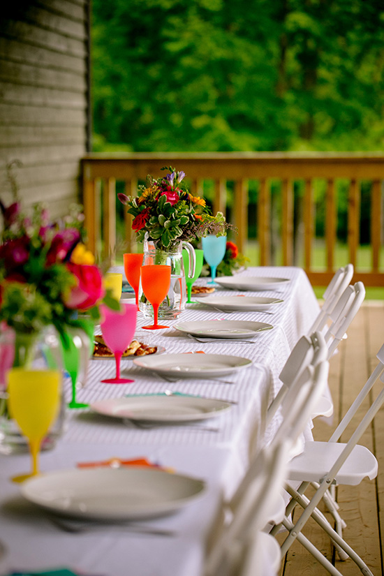 colourful wedding reception