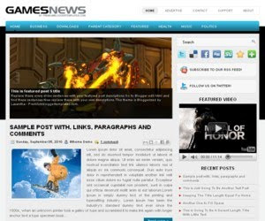Games News Blogger Template