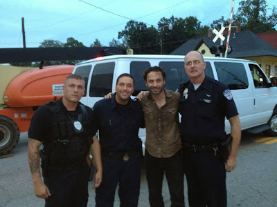 Andrew Lincoln Posing with Grantville PD