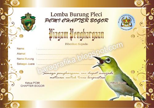 Design Bara Grafika Piagam Burung Pleci Contoh