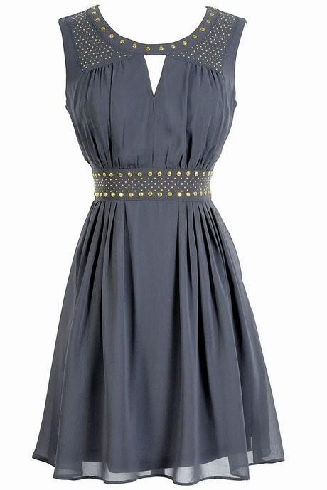 Gold Studded Chiffon Dress in Grey