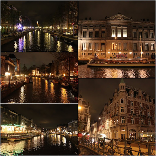 More photos with glittering buildings including Allard Pierson Museum on top right and canals in the downtown of Amsterdam, Netherlands