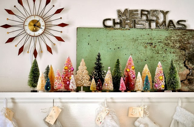 bottle brush trees, christmas, vintage, mantel