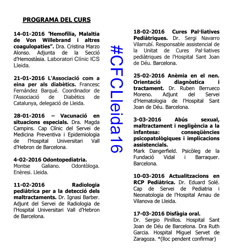 #CFCLleida16 Curs de Formació Continuada 2016