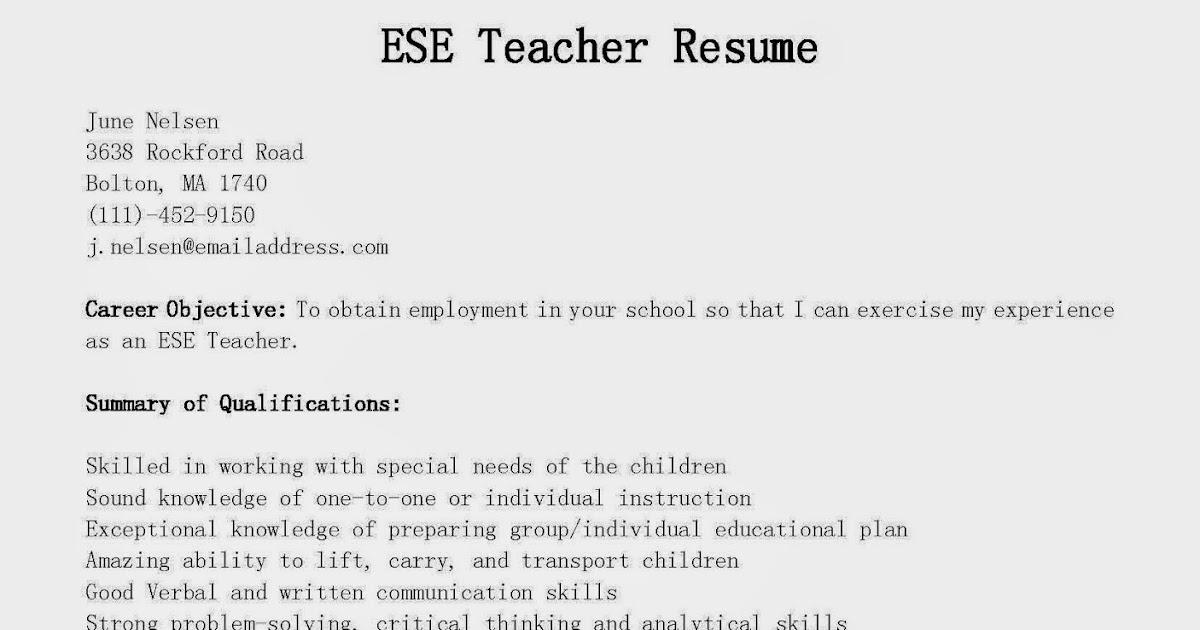 Resume Samples: ESE Teacher Resume Sample