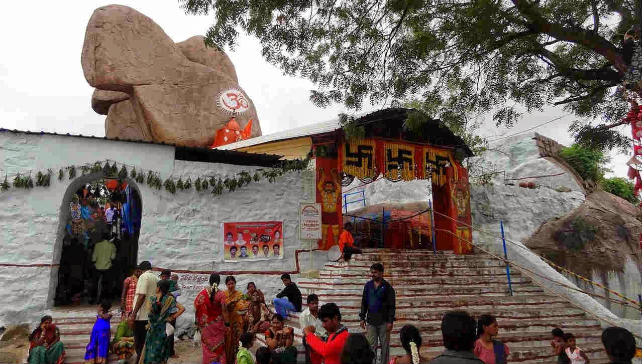 Mahakali temple carved out of a huge boulder
