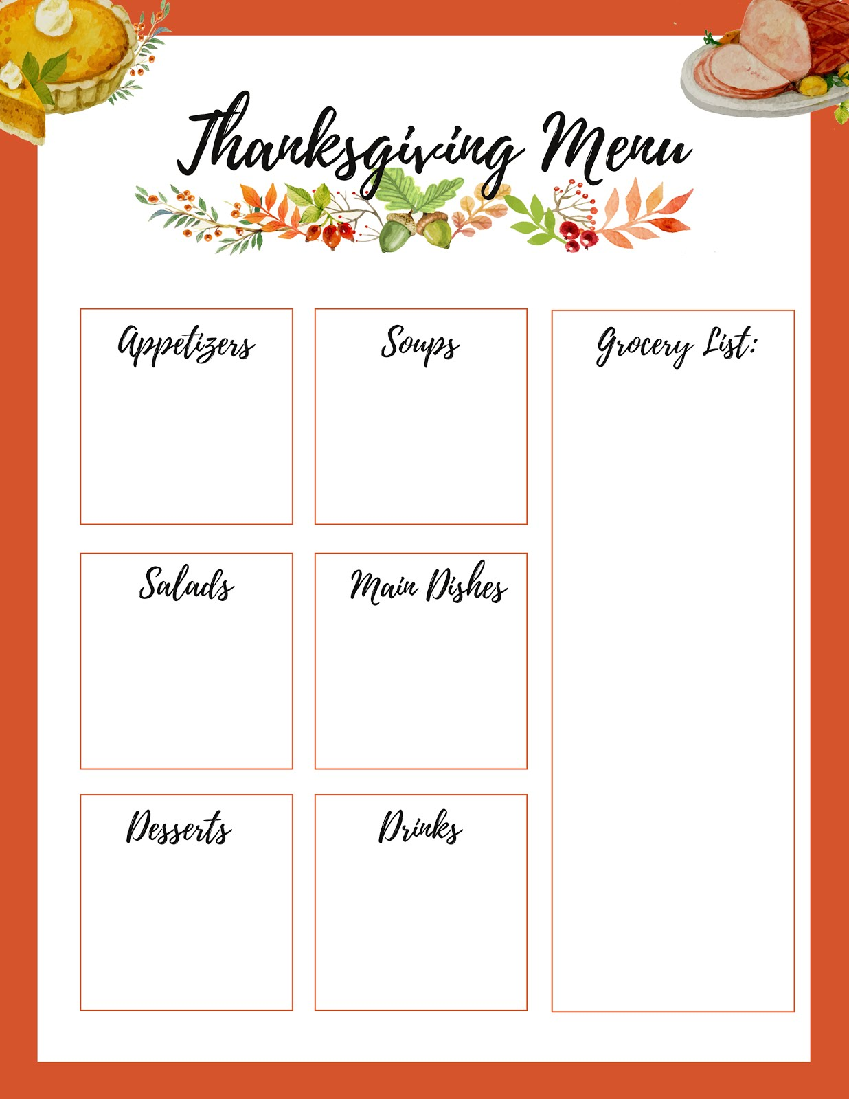 photograph relating to Thanksgiving Menu Planner Printable called Malena Haas: ❤ FREEBIE Friday❤ Supreme Thanksgiving