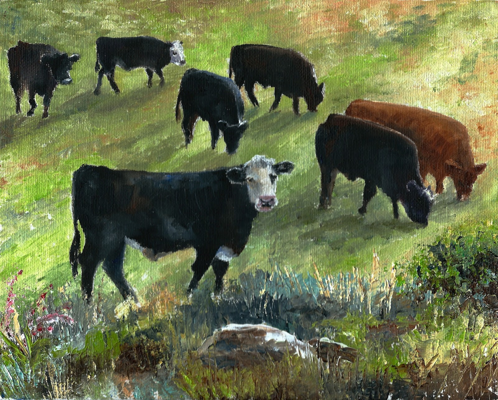 oil painting Green Pasture, landscape, cows, pet portraits by karen