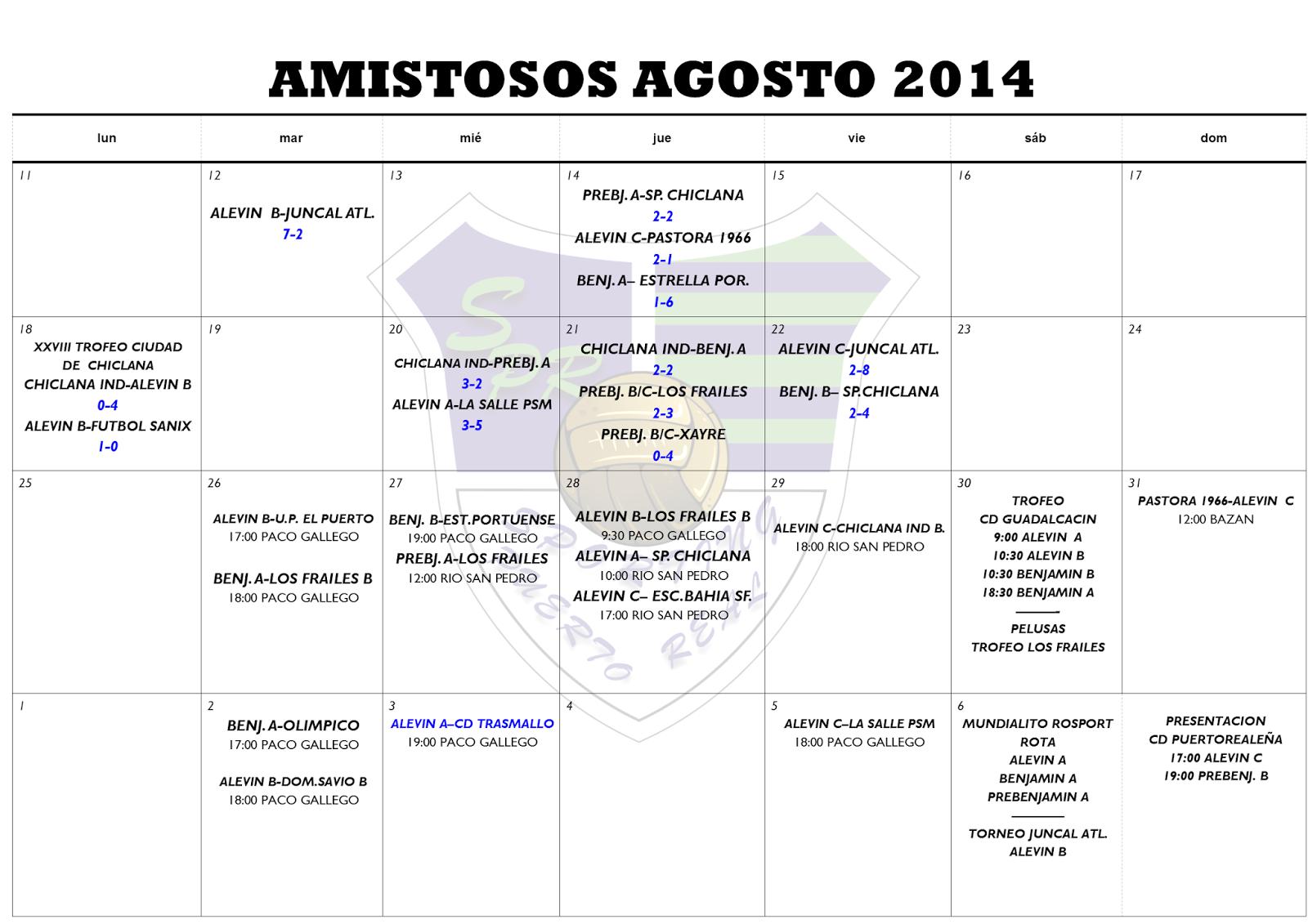 Sporting De Puerto Real Amistosos Agosto Y Horarios Para