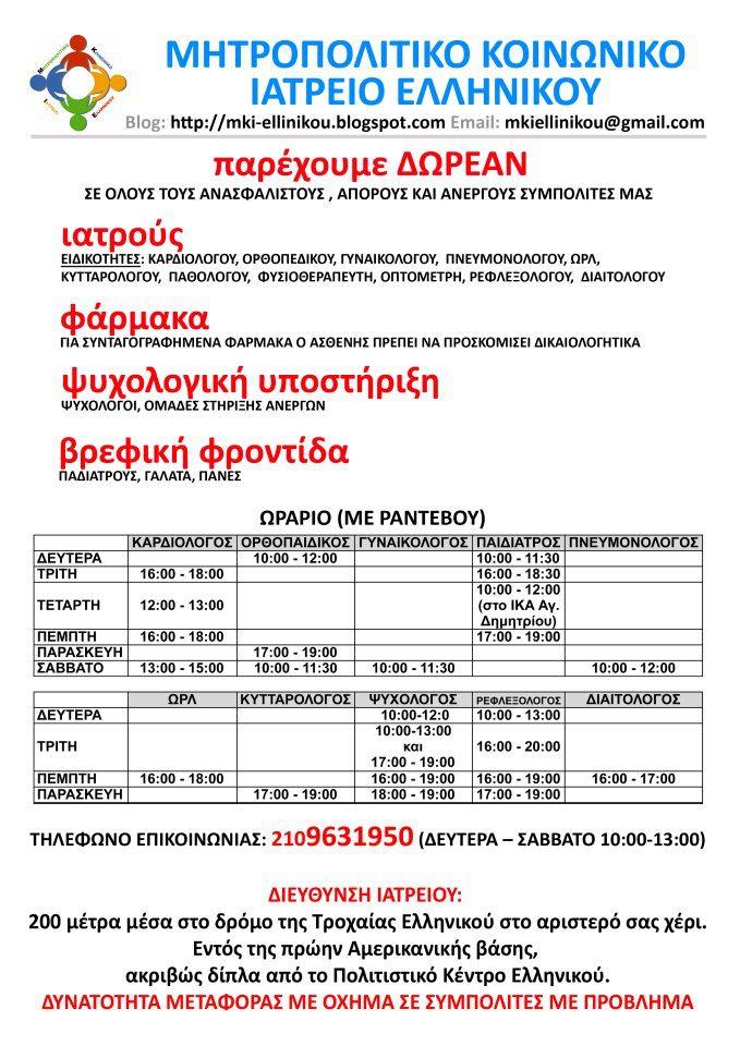 Κοινωνικό Ιατρείο Ελληνικού: Δωρεάν Παροχές.