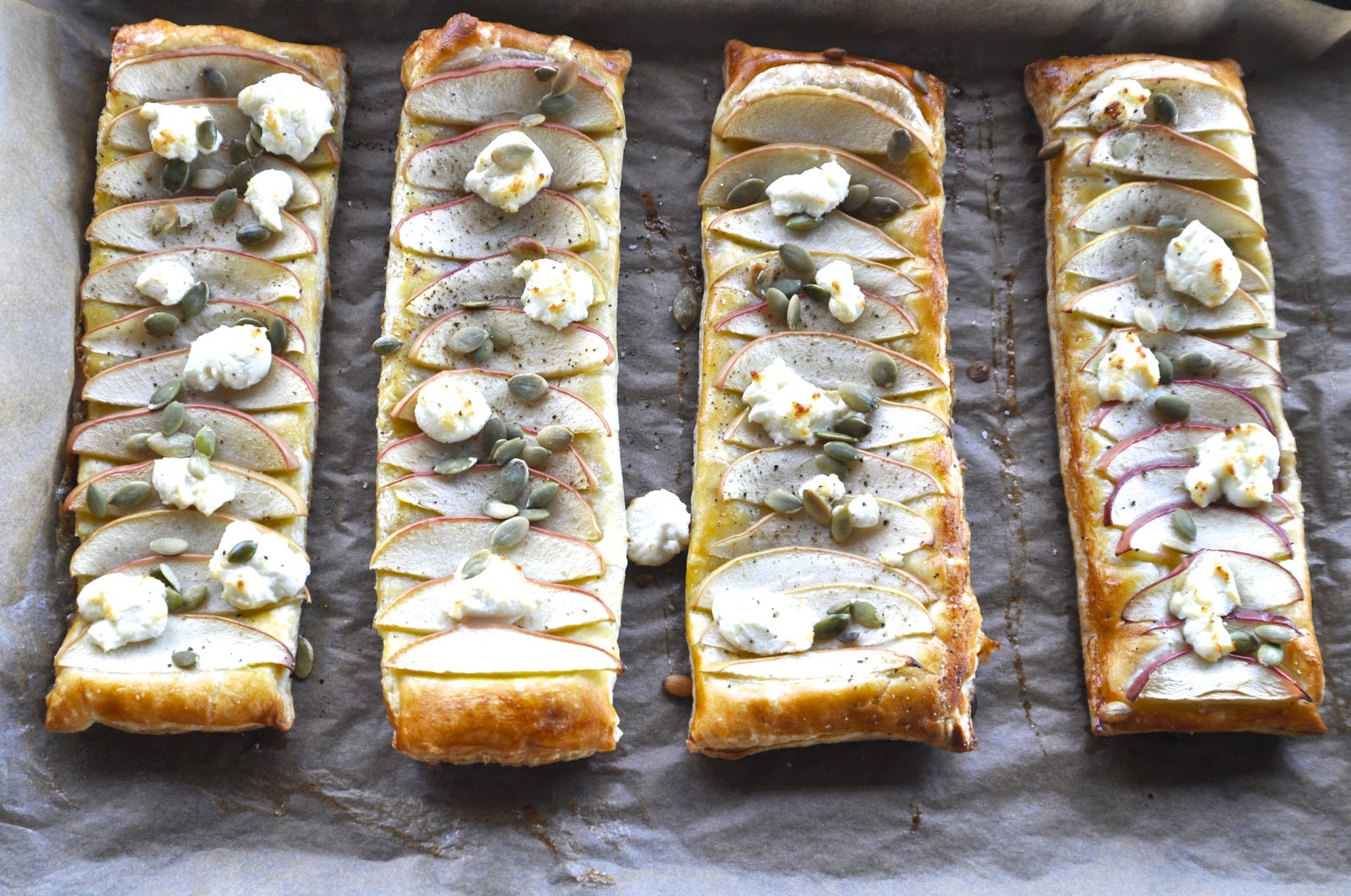 Two Blue Lemons: Puff Pastry with Apples, Goat Cheese & Pepitas