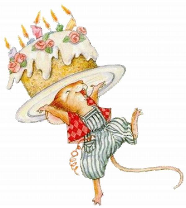 Открытка с днем рождения с мышами 62