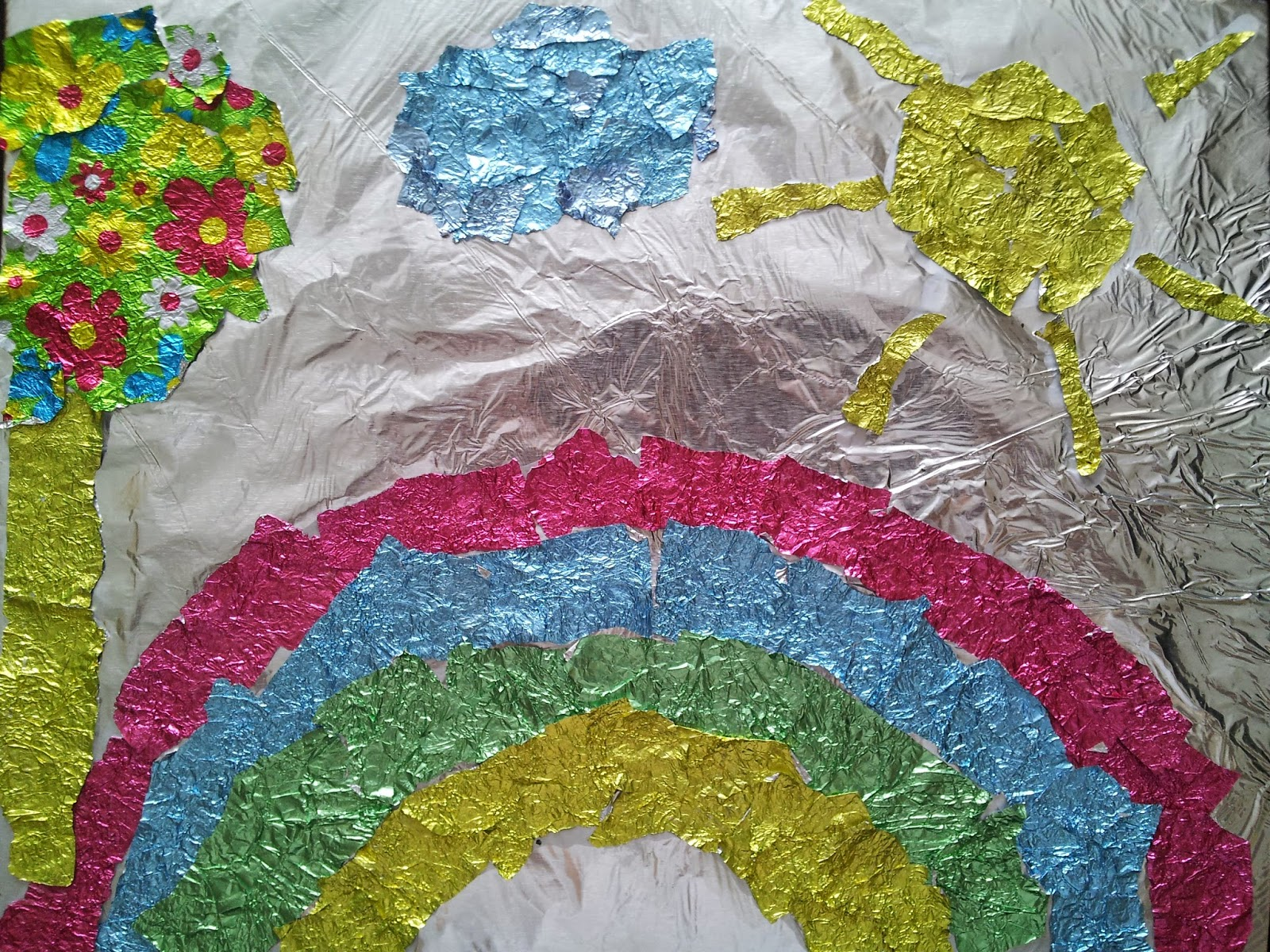 Paper Tear Art, foil, rainbow, crafts, kids crafts