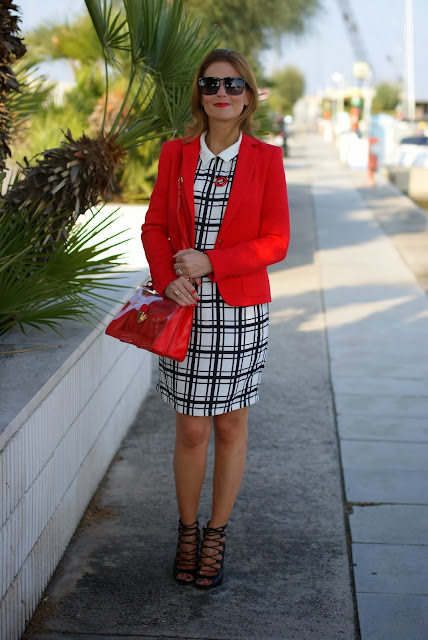 black and white check dress, red marc by marc jacobs bag, Zara blazer, Fashion and Cookies, fashion blogger