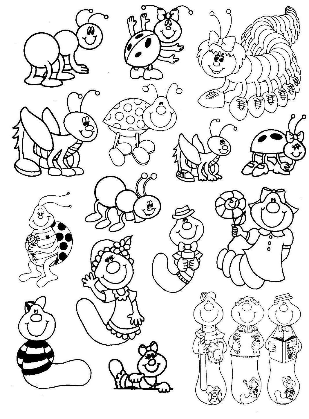 Lindos desenhos de bichinhos de jardim para colorir  Tem borboletas