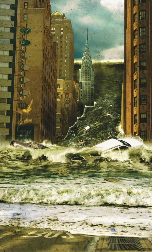 Apocalipse: Tsunami gigante invadindo Londres em 2036, arte digital