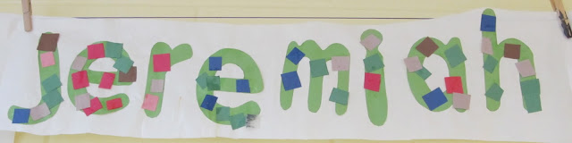 photo of: Preschool name projects, letters in preschool, art project for names in preschool