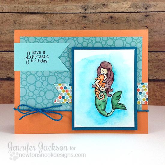 Mermaid Birthday Card by Jennifer Jackson | Mermaid Crossing Stamp set by Newton's Nook Designs #newtonsnook #mermaid