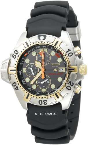 Citizen Men's BJ2004-08E Eco-Drive Aqualand Two-Tone Black Rubber Strap Dive Watch