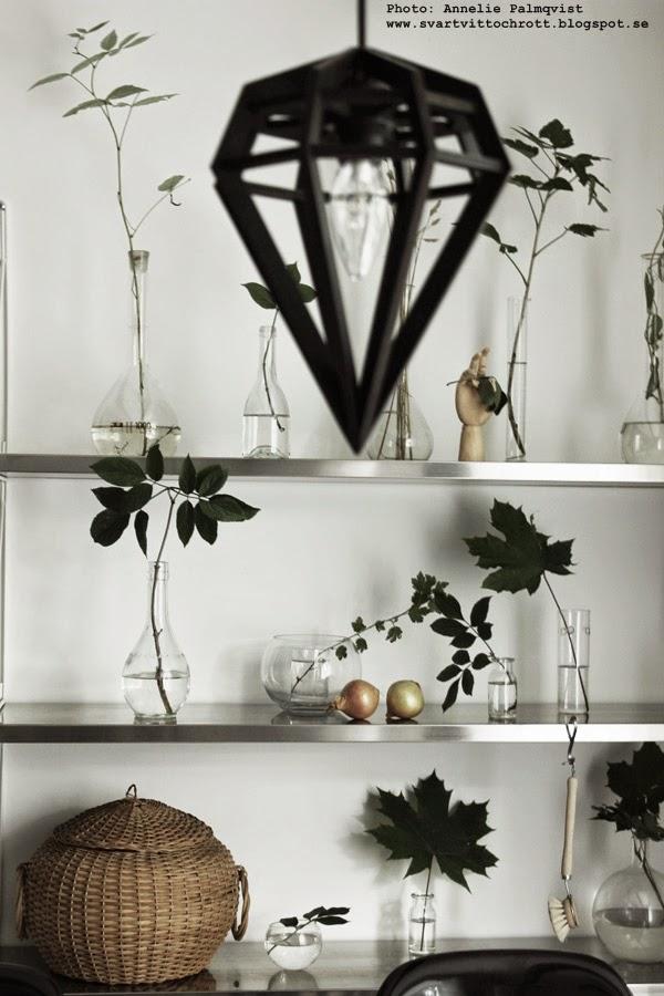 diy, styla en hylla, styling, stylingtips, hur dekorerar man en hylla, grönt från skogen, skogens, flaskor, glas, vas, vaser, kemiglas, dödens lampa, svart taklampa, hay hand, korg, lopppisfynd
