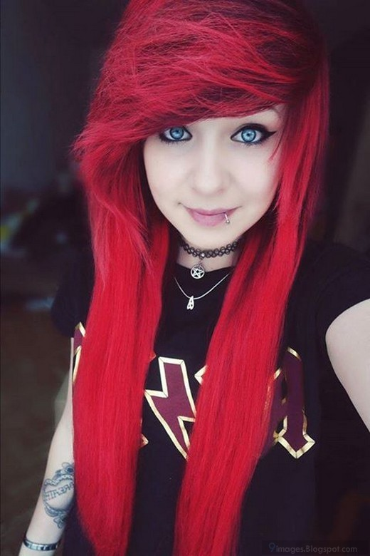Black emo girl with red hair once and