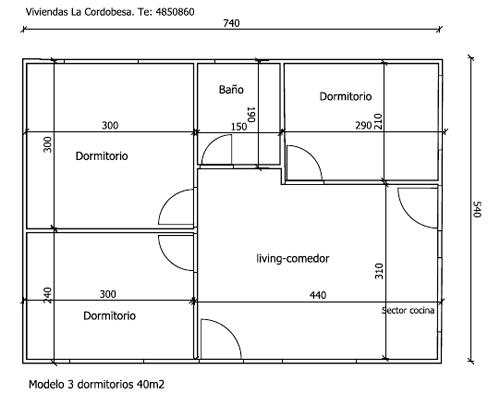 Viviendas la cordobesa santa fe plano de casa de 40 m2 3 for Planos de departamentos de 40m2