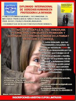 DIPLOMADO DE DERECHOS HUMANOS EN PROTECCIÓN A LA INFANCIA, PRESENCIAR O VÍA ON LINE