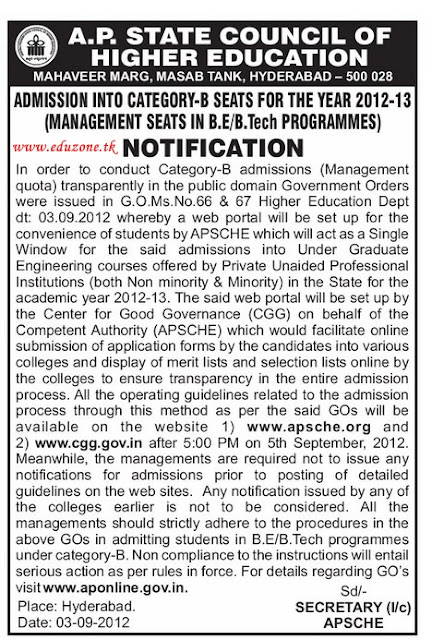 AP EAMCET Management Seats Notification