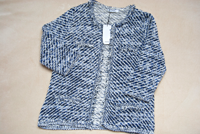 mango tweed style blue jacket blazer