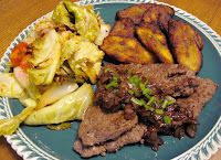 Cuban steak dinner with Platanos maduros fried plantains