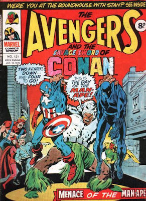 Marvel UK, Avengers #121, Man-Ape holds up a defeated Captain America and Black Panther