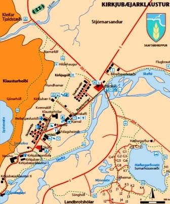 Mapa de Kirkjubaejarklaustur y Kirkjugolf