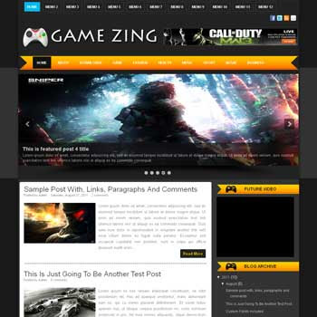 Game Zing blogger template. download android news template for blogger