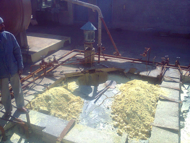 Sulfuric Acid Plant in Pakistan 100 Metric ton daily production by contact process single absorption, image by irfan ahmad plant operator, image of sulfuric acid pits while shutdown, and sulfur pump